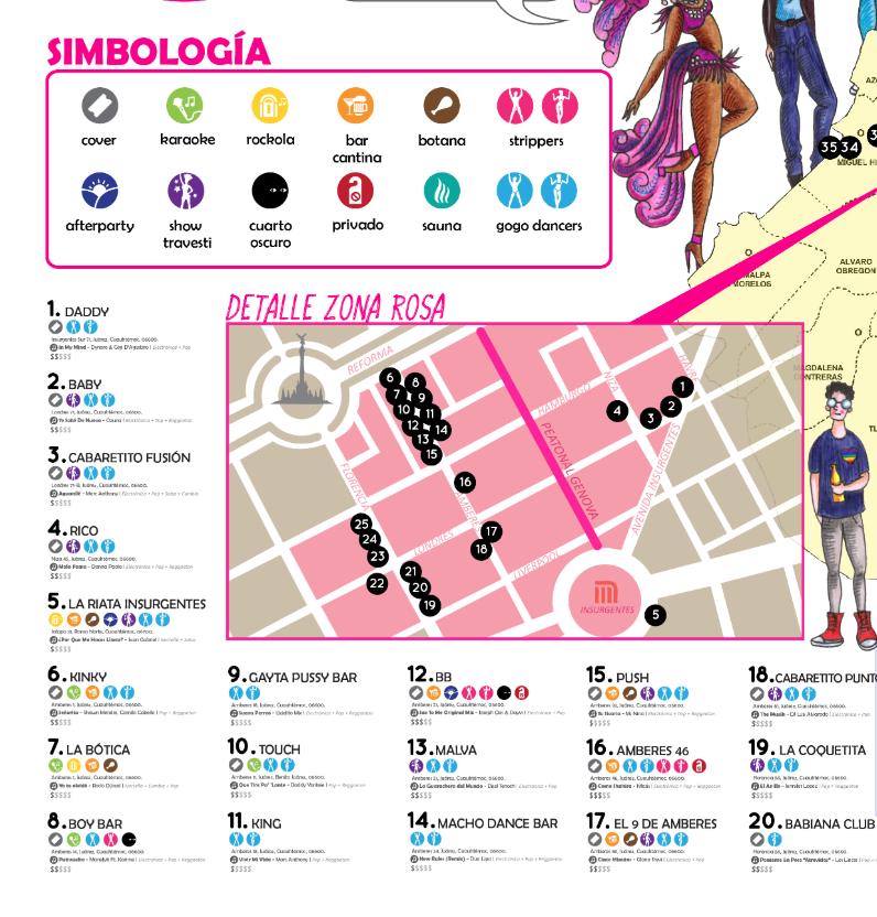 mapa antros gays CDMX