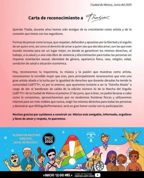Thalía Marcha Orgullo LGBTQ+