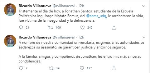 Tuit de Ricardo Villanueva sobre el caso de Jonathan Santos
