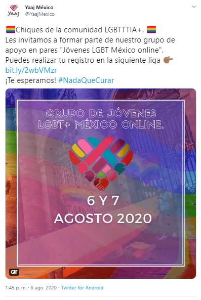 Yaaj México es una de las organizaciones que ofrece grupos de apoyo LGBT