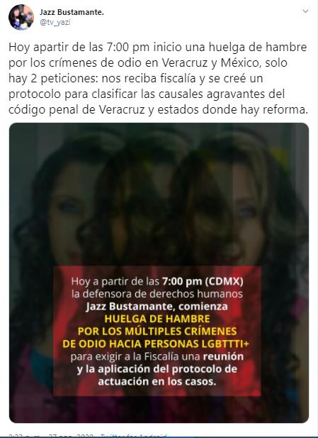 Jazz Bustamante anuncia huelga de hambre