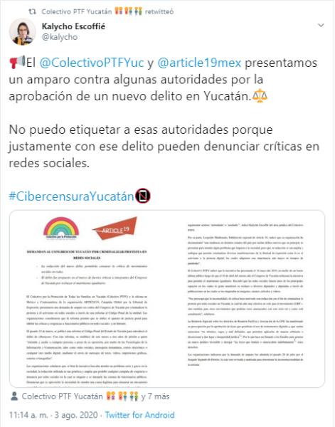 comunicado del colectivo PTFY y Article 19 sobre una posible ley mordaza contra la comunidad LGBTQ+ en Yucatán