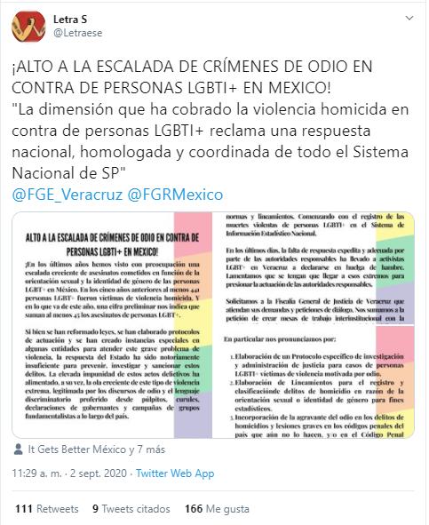 Letra S asesinatos personas LGBT 2020