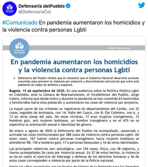 Comunicado sobre los asesinatos de personas LGBT+ en Colombia
