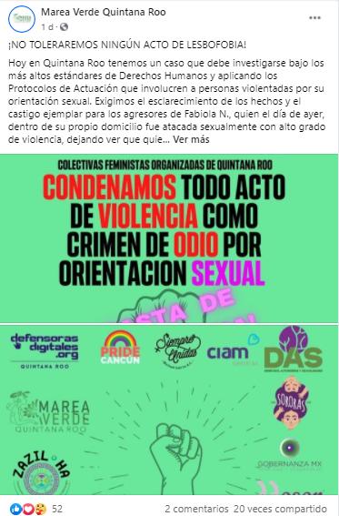 Ataque lesbofóbico a chica lesbiana en Cancún