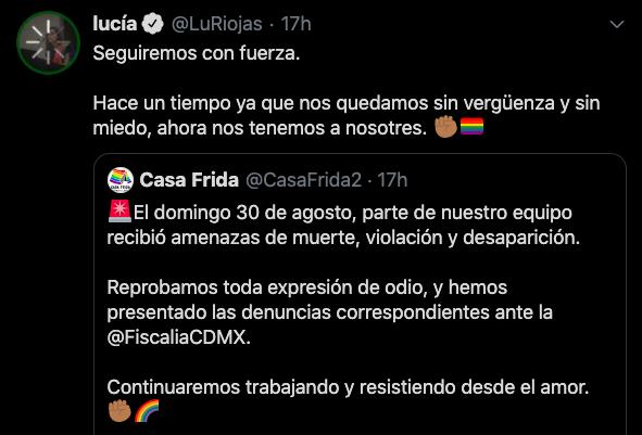 Publicación en Twitter en la que la denunciaron las amenazas recibidas contra Casa Frida.