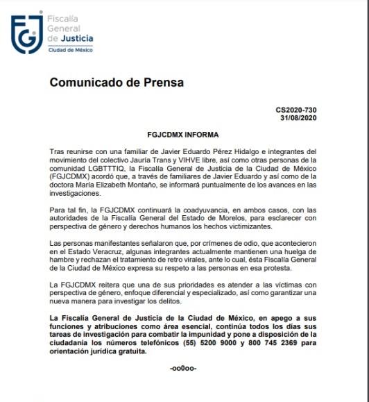 comunicado Fiscalía CDMX sobre crímenes de odio