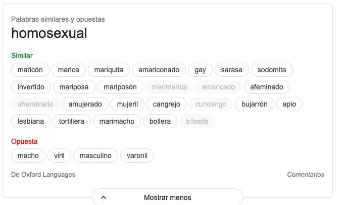 Página de Google en donde se pueden ver los sinónimos de la palabra 'homosexual'.