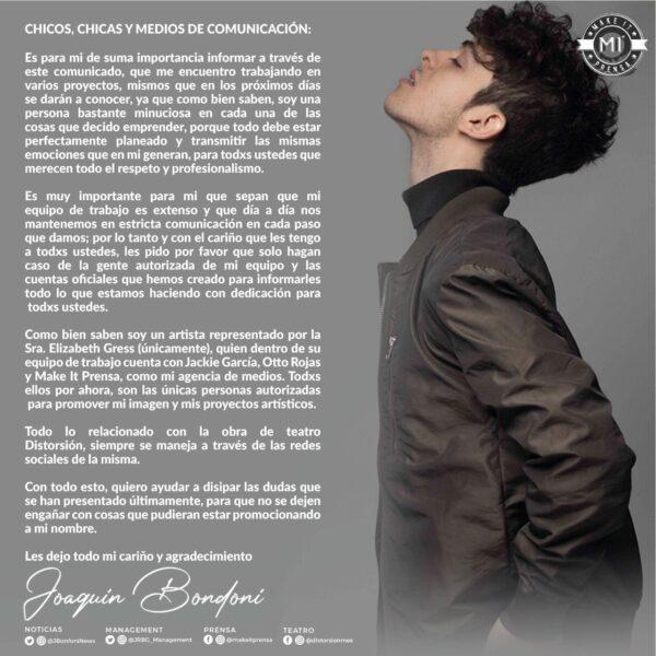 Comunicado en el que Joaquín Bondoni denunció el robo de su canción.