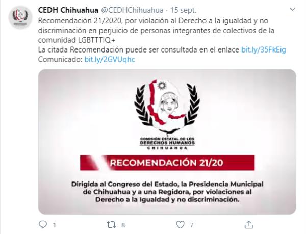 Recomendación de la CEDH dirigida a la regidora Catalina Bustillos