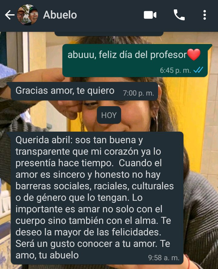 Mensaje reacción del abuelo al saber que la nieta salió del clóset