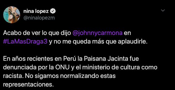 Comentario favorable Johnny Carmona draga