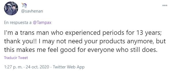 Captura de tuit en apoyo a personas trans que menstrúan