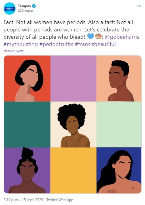 Tampax demostró su apoyo a la diversidad género.