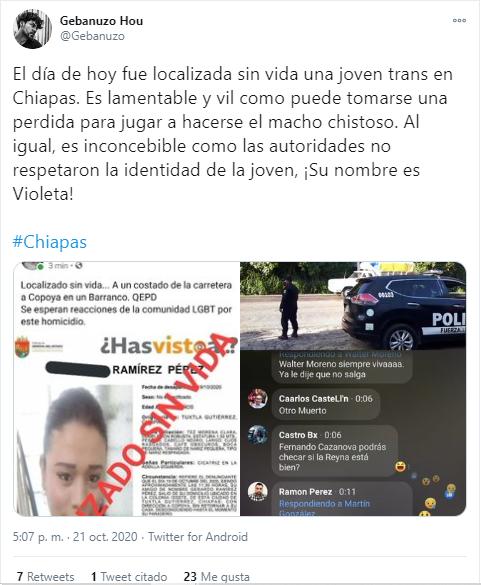transfobia México Violeta