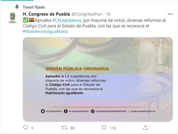 Aprobación matrimonio igualitario Puebla