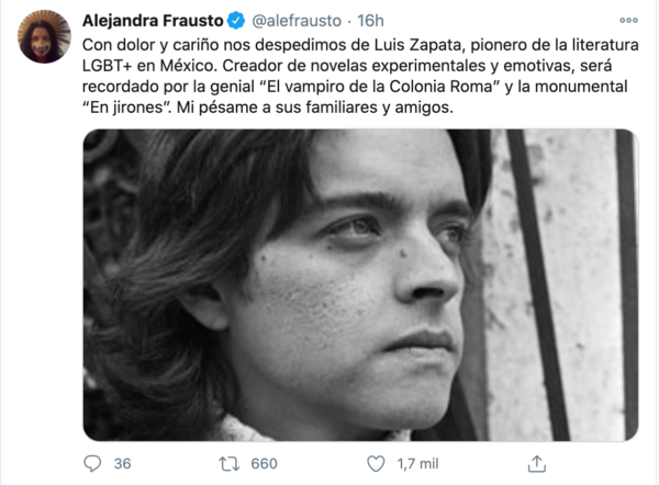Tuit Alejandra Frausto Luis Zapata