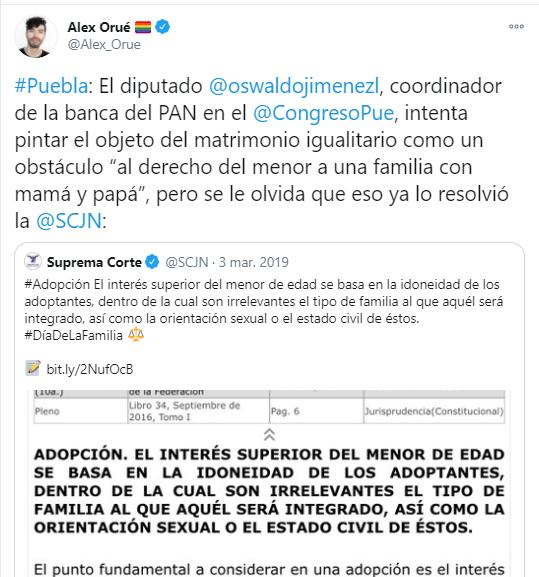 Algunos legisladores se opusieron a la aprobación del matrimonio igualitario en Puebla pese a que la Suprema Corte e Justicia de la Nación ya se pronunció al respecto. / Foto: Twitter (@AlexOrue)