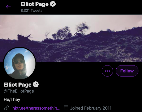Pagina twitter elliot page hombre trans