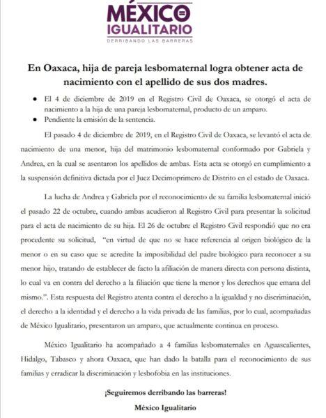 comunicado mexico igualitario oaxaca pareja lesbomaternal acta de nacimiento registro civil