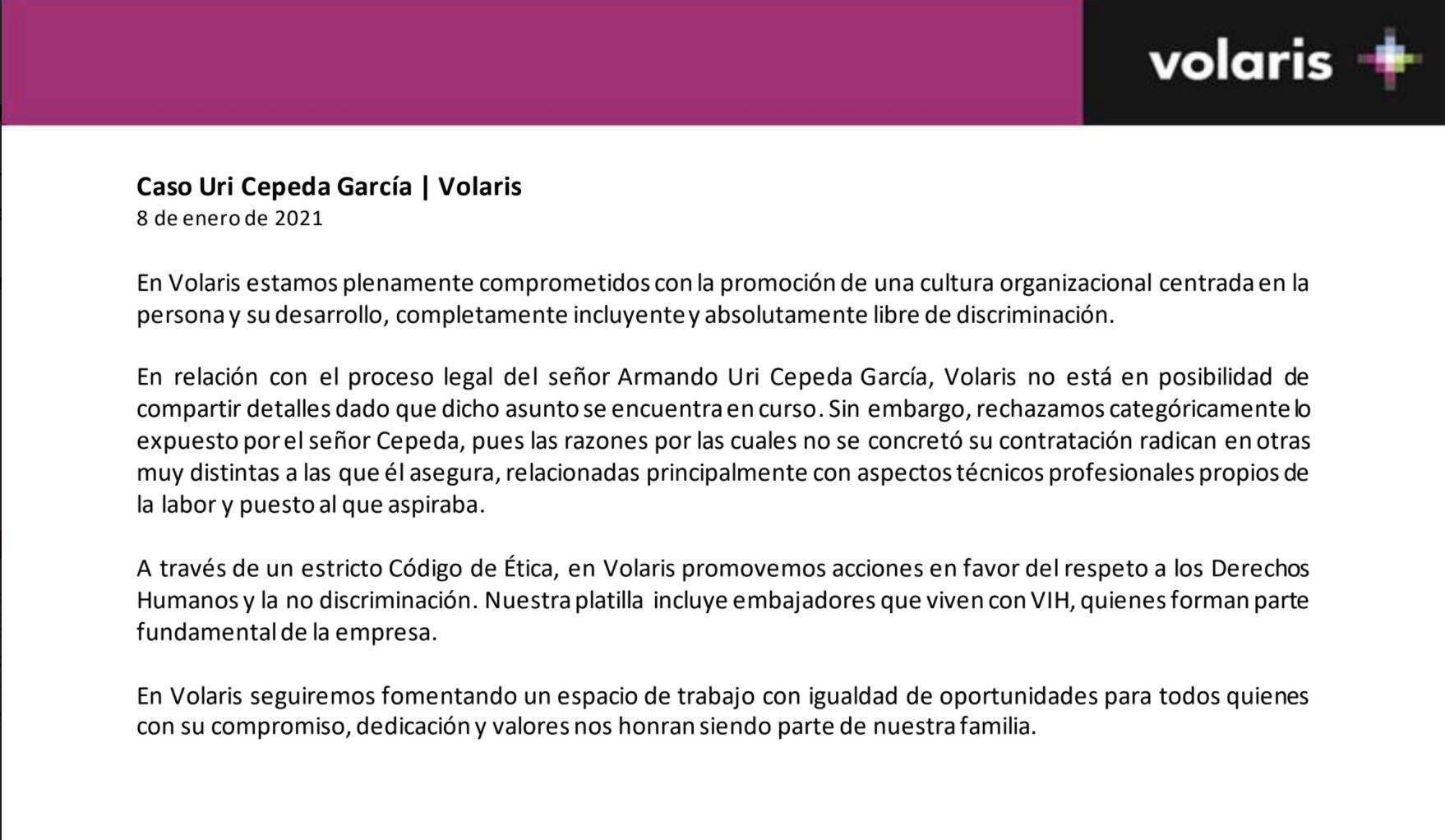 Comunicado Volaris discriminacion VIH