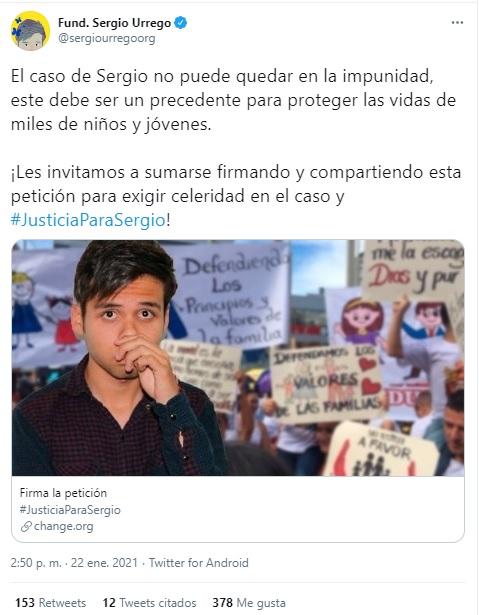 petición sobre el caso de Sergio Urrego