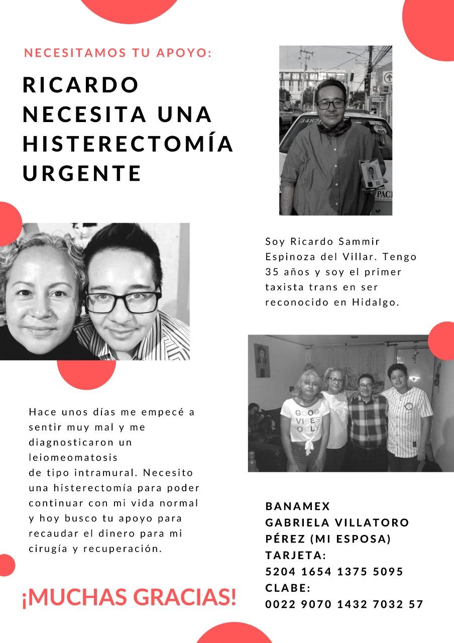 Ricardo primer taxista trans Hidalgo histerectomía