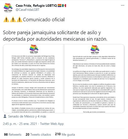 Gobierno de México deportó a pareja gay que solicitó refugio