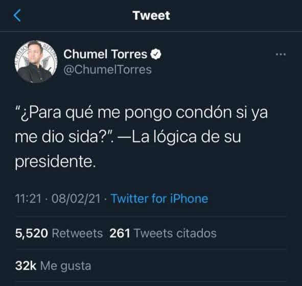 chumel torres condon sida vih tweet