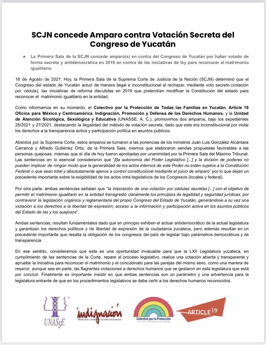 comunicado SCJN Yucatán colectivo PTF