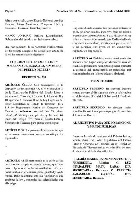 Decreto que oficializa el derecho de las parejas LGBT+ a contraer matrimonio en Tlaxcala