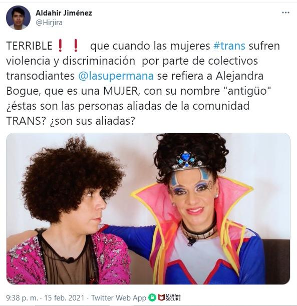 Supermana usa el deadname de Alejandra Bogue