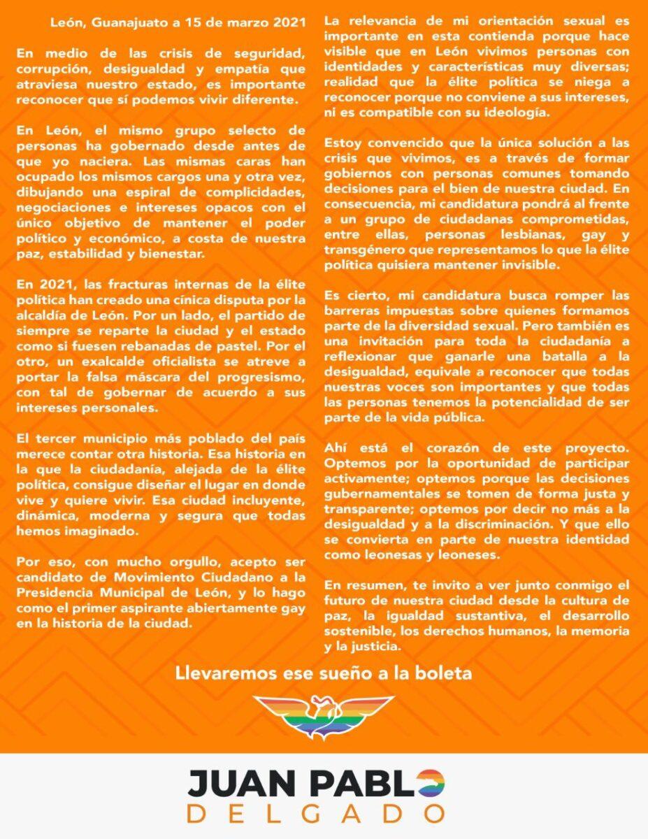 Carta de postulación de Juan Pablo Delgado