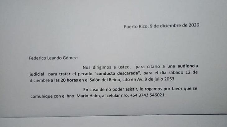 Carta que ocasionó el suicidio de Federico Gómez