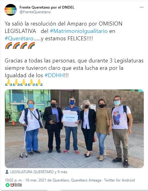 discusión de matrimonio igualitario en Querétaro se descongela gracias a amparo