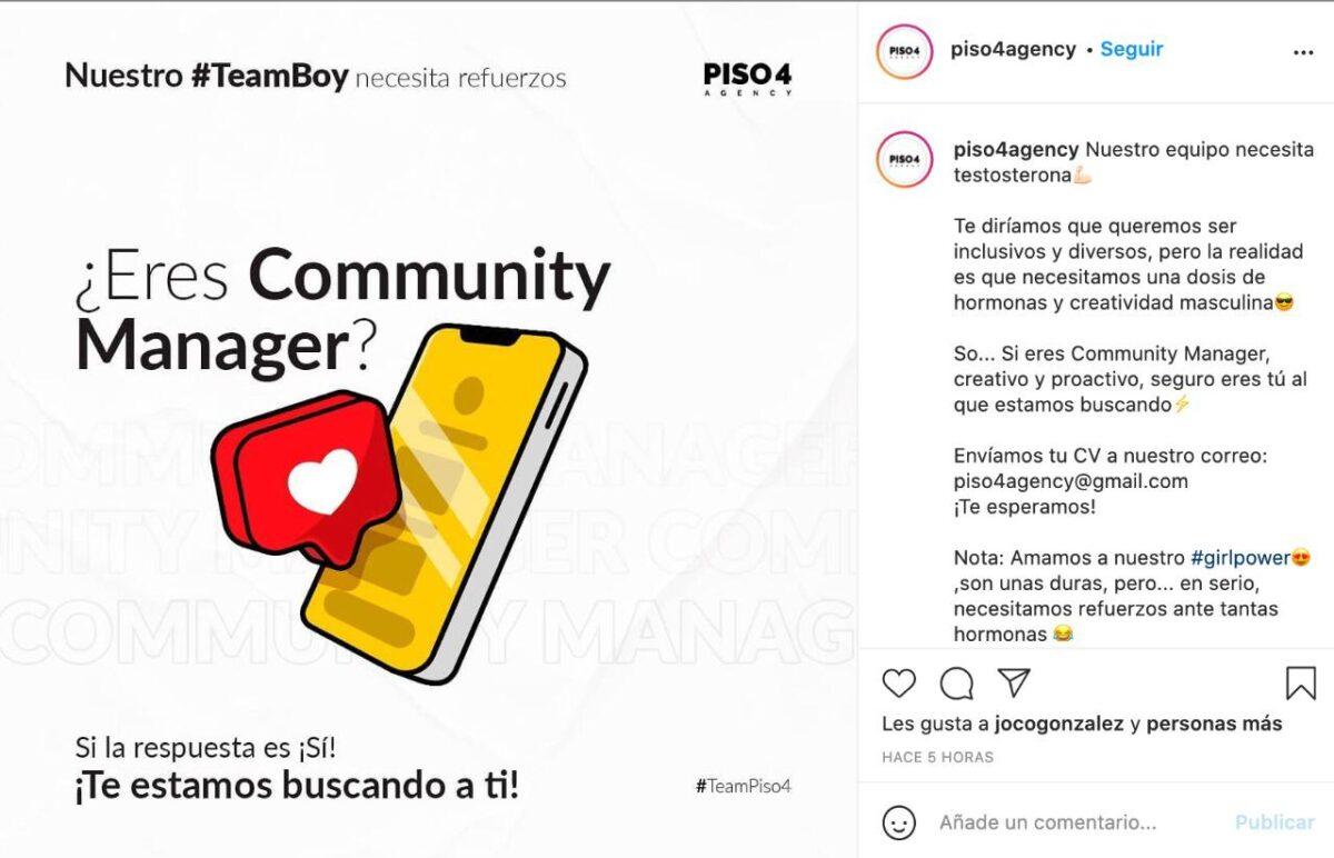 Anuncio misógino y homofóbico de Piso 4 Agency