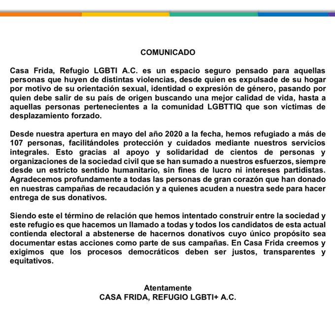 Casa Frida pide a candidatos abstenerse de hacerle donaciones