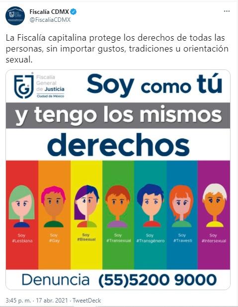 Infografía de la Fiscalía de CDMX dirigida a la comunidad LGBT+