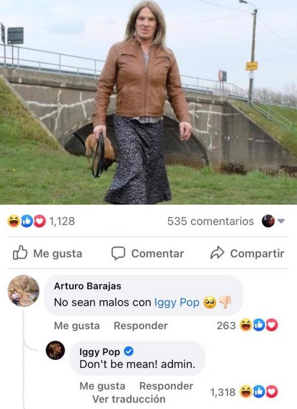 Iggy Pop reacciona a comparación con mujer trans