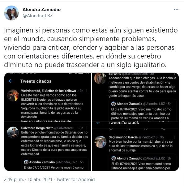 Insultos lesbofóbicos a Alondra Zamudio