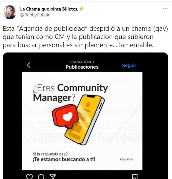 Publicación homofóbica de Piso 4 Agency