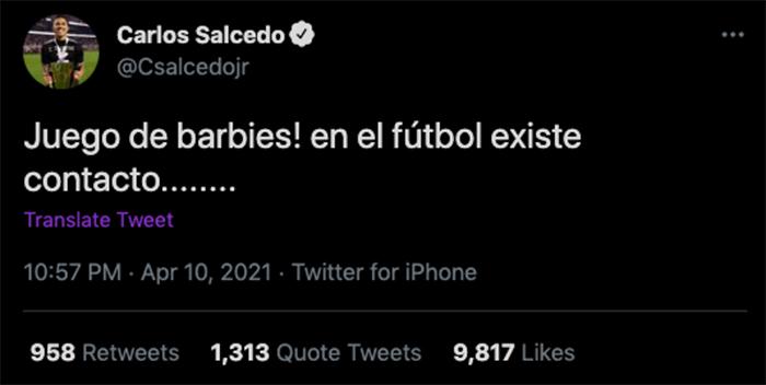 Carlos salcedo mensaje twitter