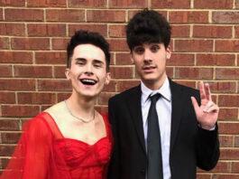homofóbico chico con vestido graduación