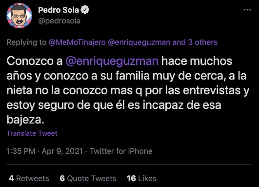 Pedro Sola enrique guzmán Twitter
