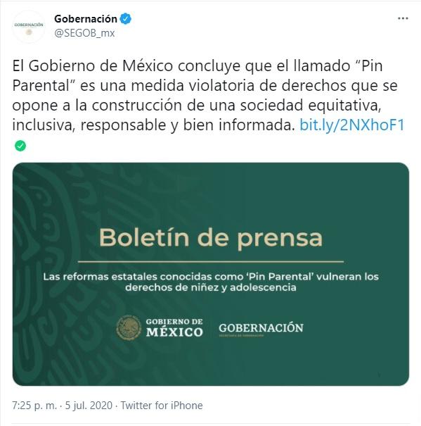 Postura del Gobierno de México sobre el pin parental