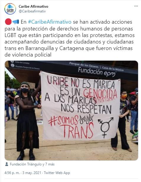 Comunidad LGBT+ apoya en paro nacional de Colombia