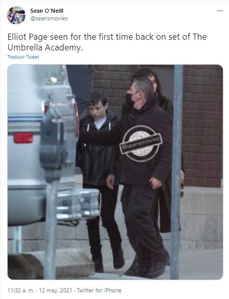 Elliot page en grabación de The Umbrella Academy