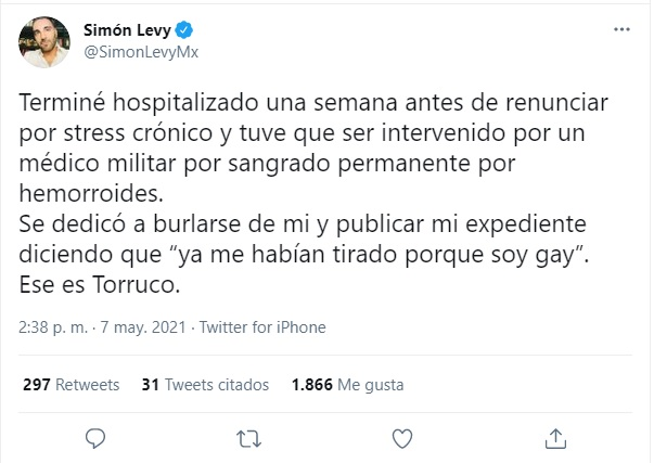 Simón Levy acusa a Miguel Torruco por homofóbico