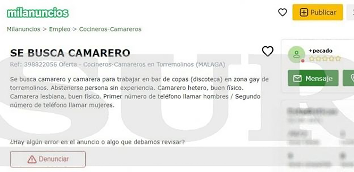 bar gay anuncio camarero hetero
