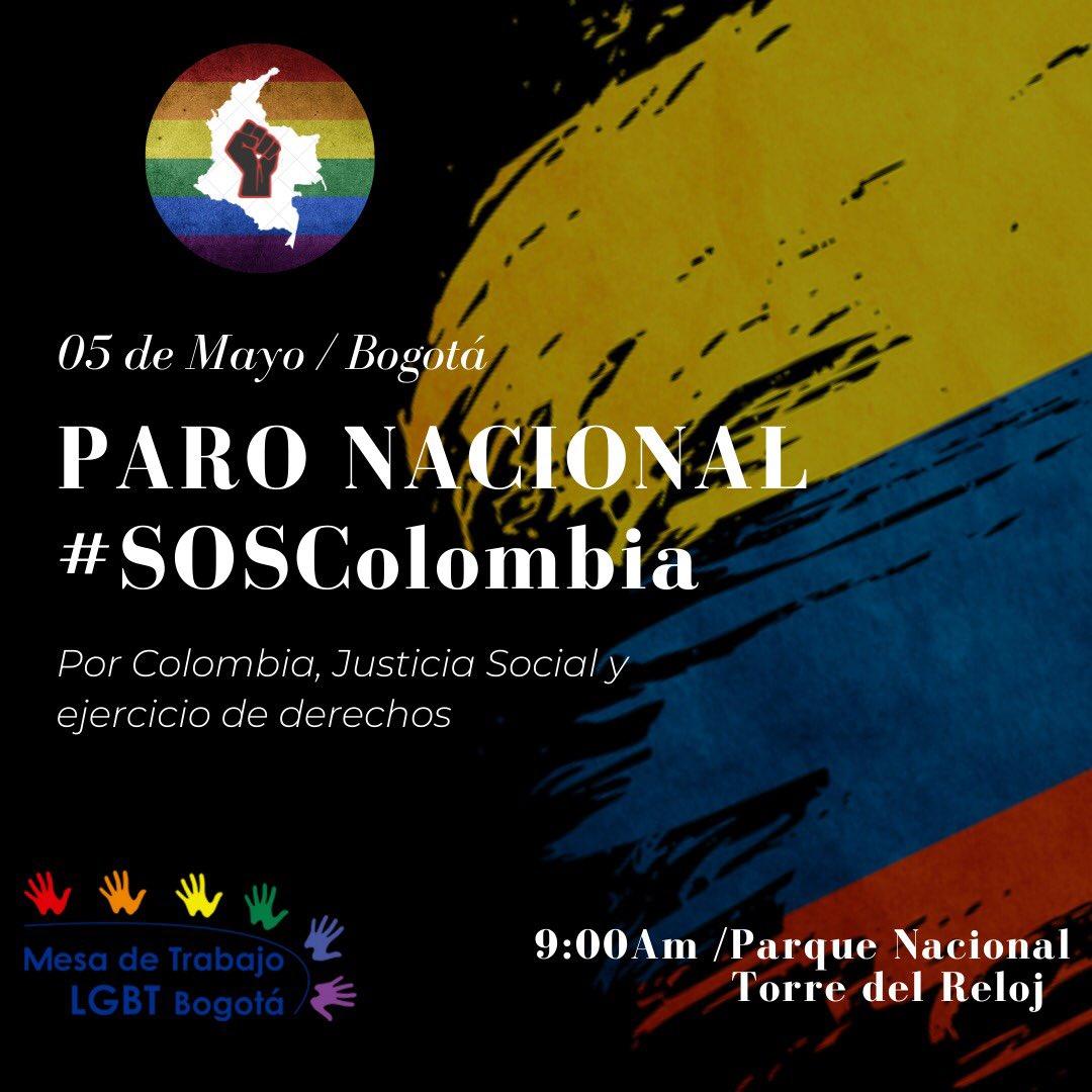 Convocan a LGBT+ a participar en paro nacional de Colombia